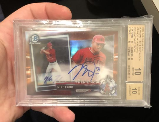 2017 Topps Chrome Bowman Then & Now Auto Mike Trout