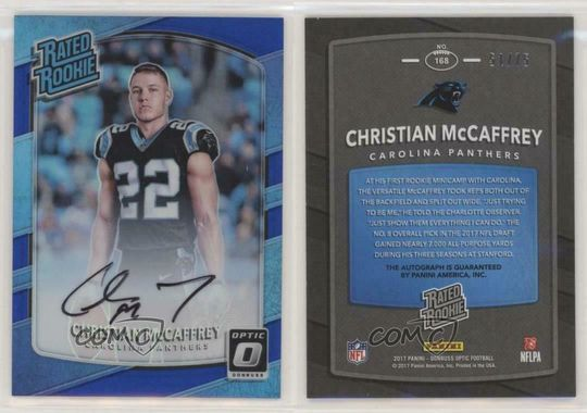 2017 Donruss Optic Blue Auto Christian McCaffrey