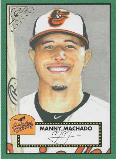 2018 topps gallery heritage manny machado h-22 green