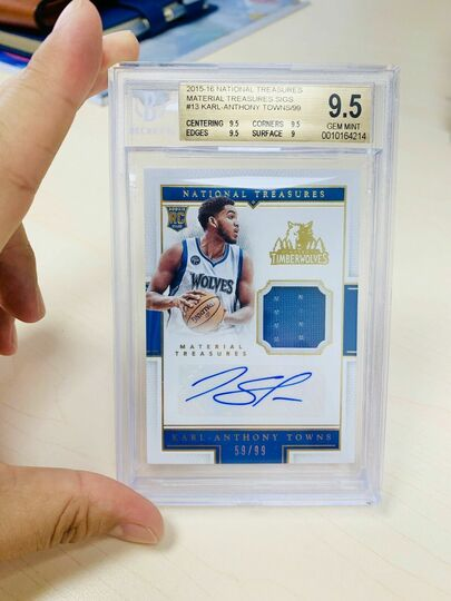 National Treasures Rookie Jersey Auto Karl-Anthony Towns #59/99 BGS 9.5
