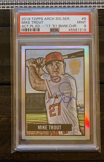 2019 Topps Archives 1/1 On Card Auto Chrome Mike Trout