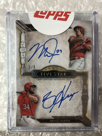 2018 Topps Five Star Dual Auto Mike Trout / Bryce Harper #5/5