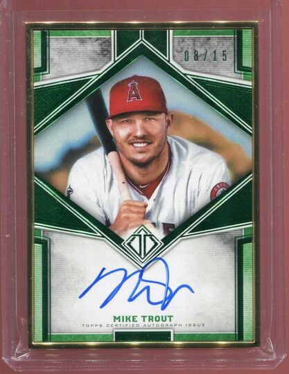 2019 Topps Transcendent Mike Trout Green Metal Frame On Card Auto 08/15