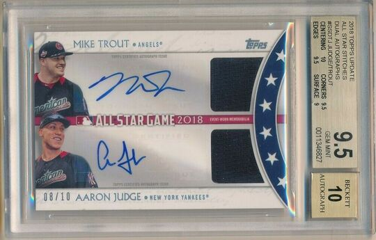 Mike Trout Aaron Judge 2018 Topps Update Auto