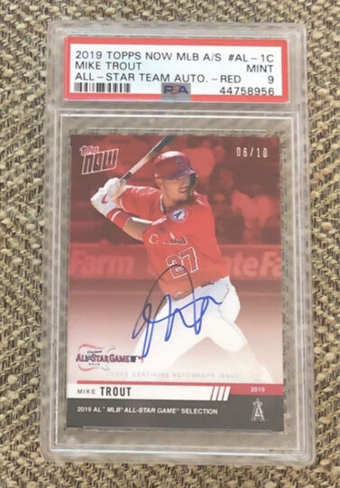 2019 Topps Now All Star Mike Trout Red Auto PSA 9