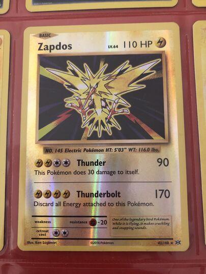 Near Mint Same day ship! 42//108 Holo Rare XY Evolutions Pokemon Zapdos