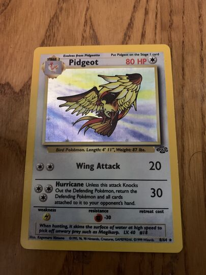 pidgeot holographic 8/64 base set