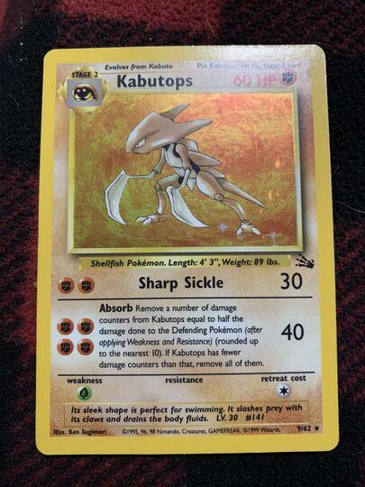 kabutops holo 9/62 base set