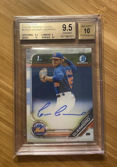 2019 Bowman Chrome Prospects Auto Gregory Guerrero BGS 9.5 Auto 10