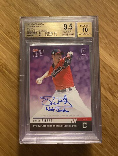 2019 Topps Now Autographs Purple Shane Bieber #2/25 BGS 9.5 Auto 10