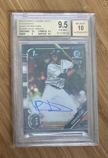 2019 Bowman Chrome Black Riley Greene Auto BGS 9.5