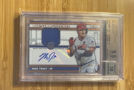 2013 Topps Update All Star Stitches Auto Mike Trout BGS 9.5 Auto 10