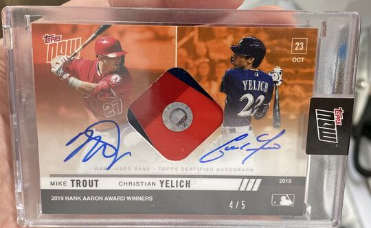 2019 Topps Now Mike Trout Christian Yelich Relic Dual Auto