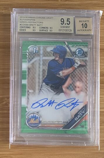 2019 Bowman Chrome Green Brett Baty Auto