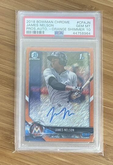 2018 Bowman Chrome James Nelson Orange Shimmer Auto PSA 10