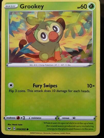 Mavin Grookey 010 202 Grookey is the pokemon whish has one type (grass) from the 8 generation. grookey 010 202