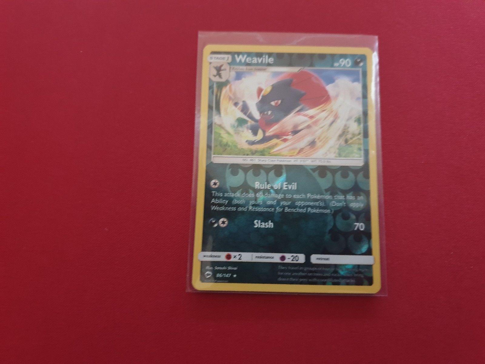 Pokemon Card - WEAVILE - Burning Shadows - 86/147 - RARE REV HOLO