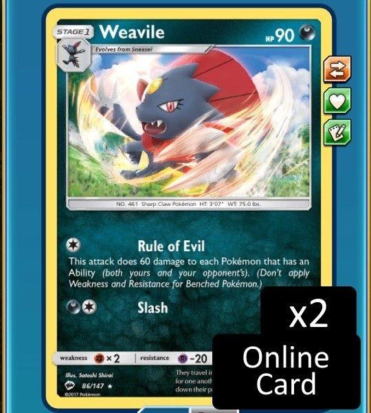 x2 Weavile 86/147 Burning Shadows Pokemon Online - DIGITAL CARD