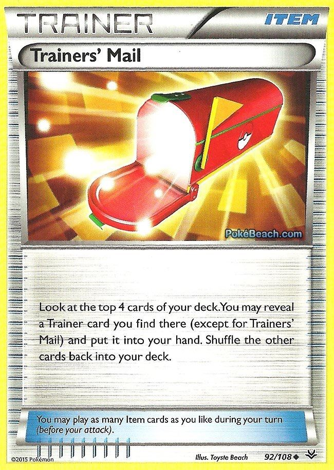 Pokemon NM//M Non Holo New Roaring Skies 4x Trainers/' Mail  92//108