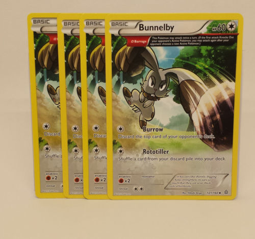 POKÉMON 4X BUNNELBY 121//160 COMMON NM CARD  PRIMAL CLASH