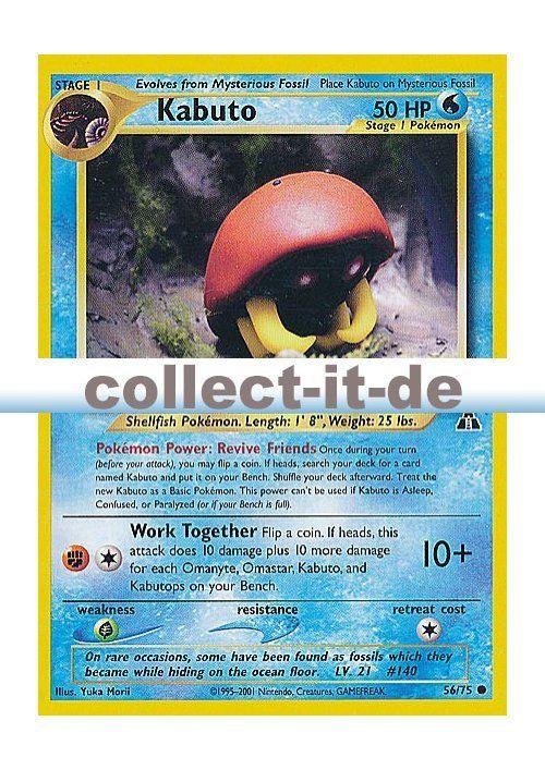 Carte Pokemon KABUTO 56//75 Commune Néo Discovery Wizard EDITION 1 FR NEUF