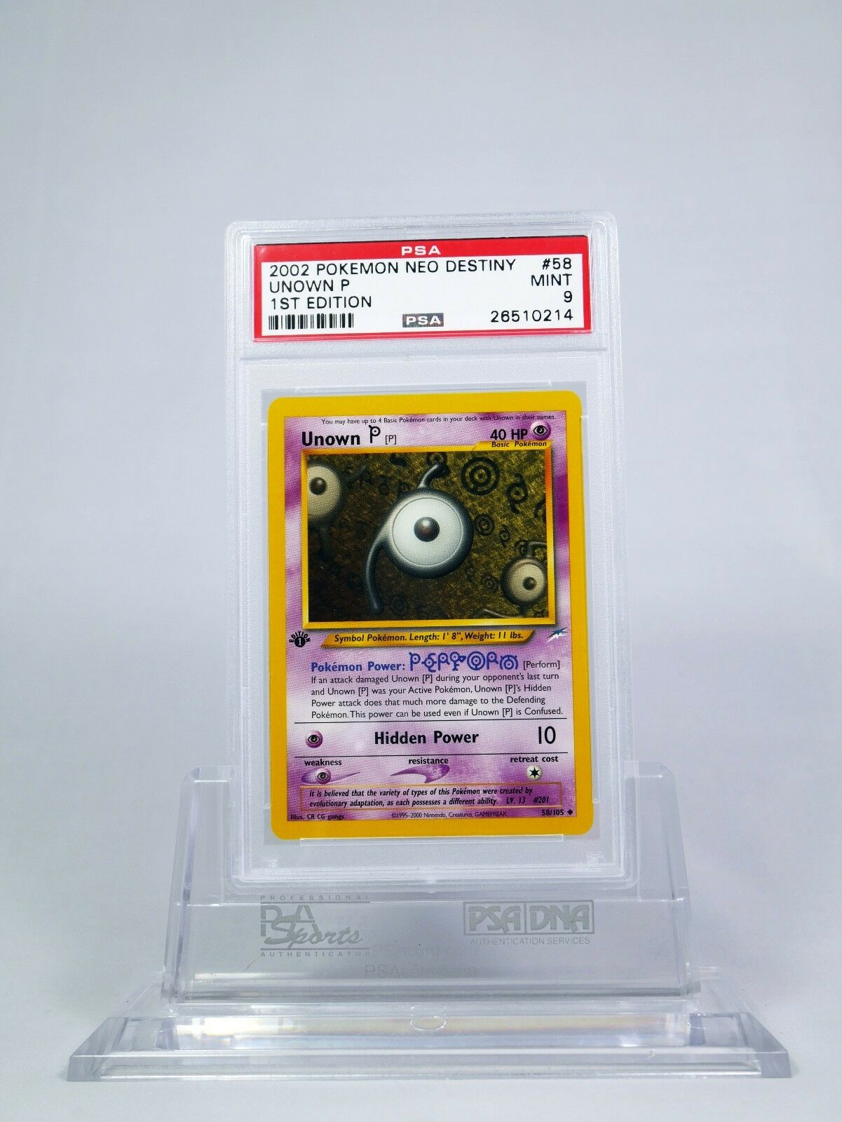 Unown P 58//105 1st Edition Neo Destiny Pokémon Card NEAR MINT//MINT