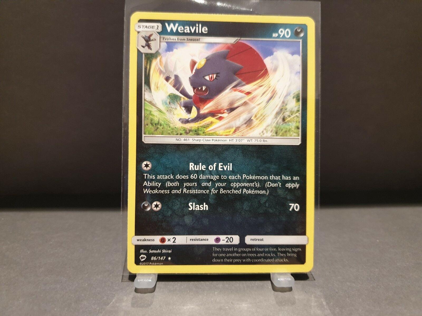 Pokemon Card - WEAVILE - Burning Shadows - 86/147 - Mint