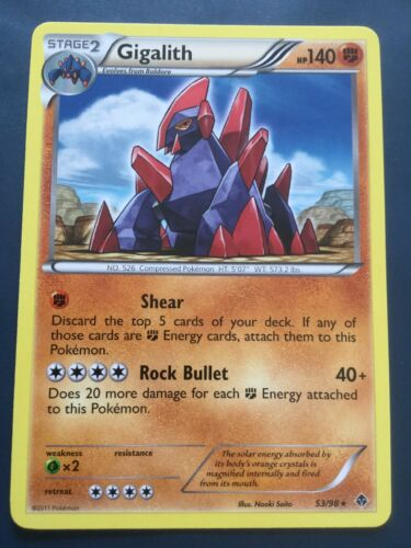 GIGALITH Emerging Powers STAFF Prerelease Event Stamped Promo 53//98 Pokemon Card