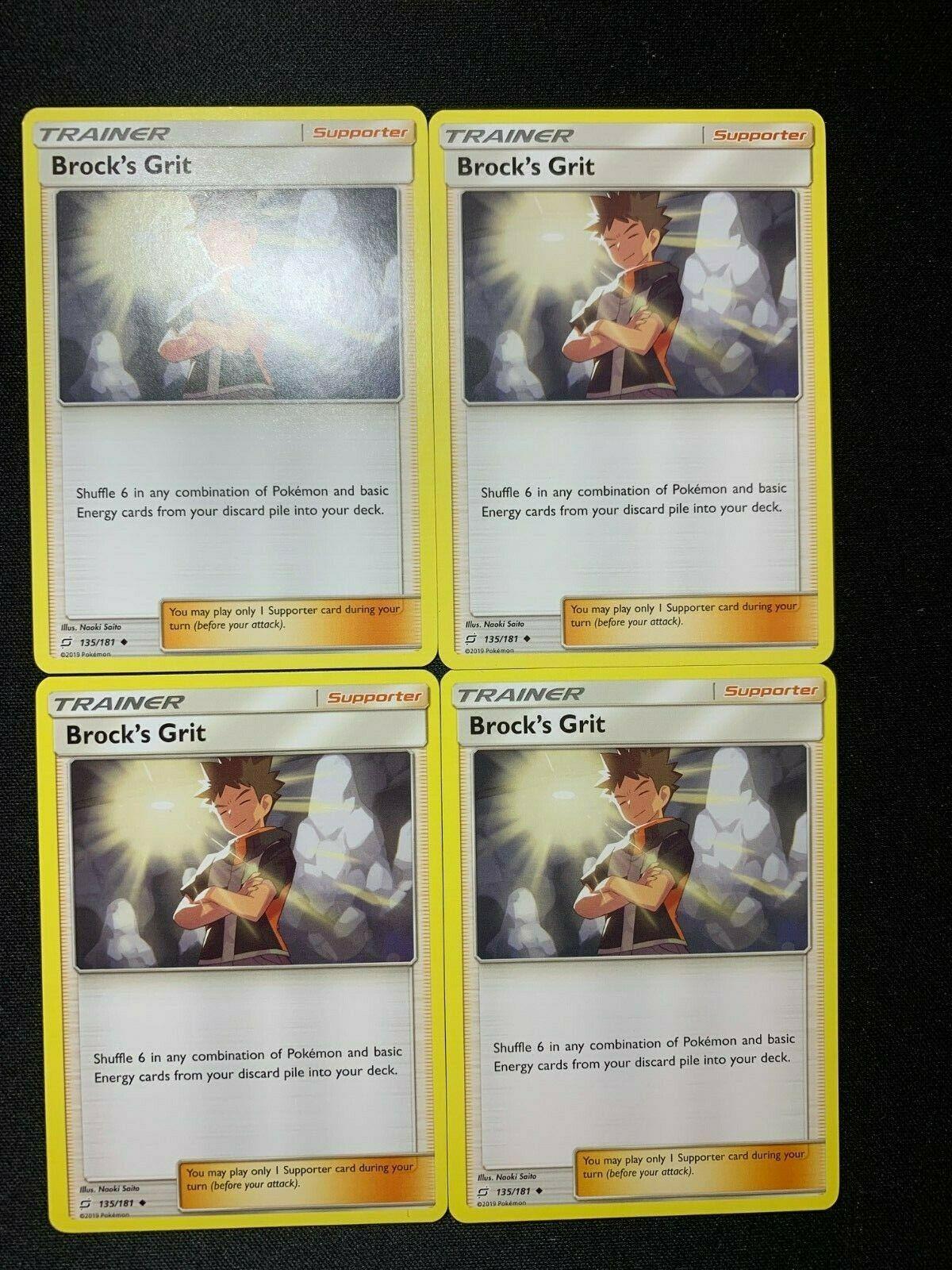 Brock/'s Grit X4 135//181 Pokémon TCG Team Up