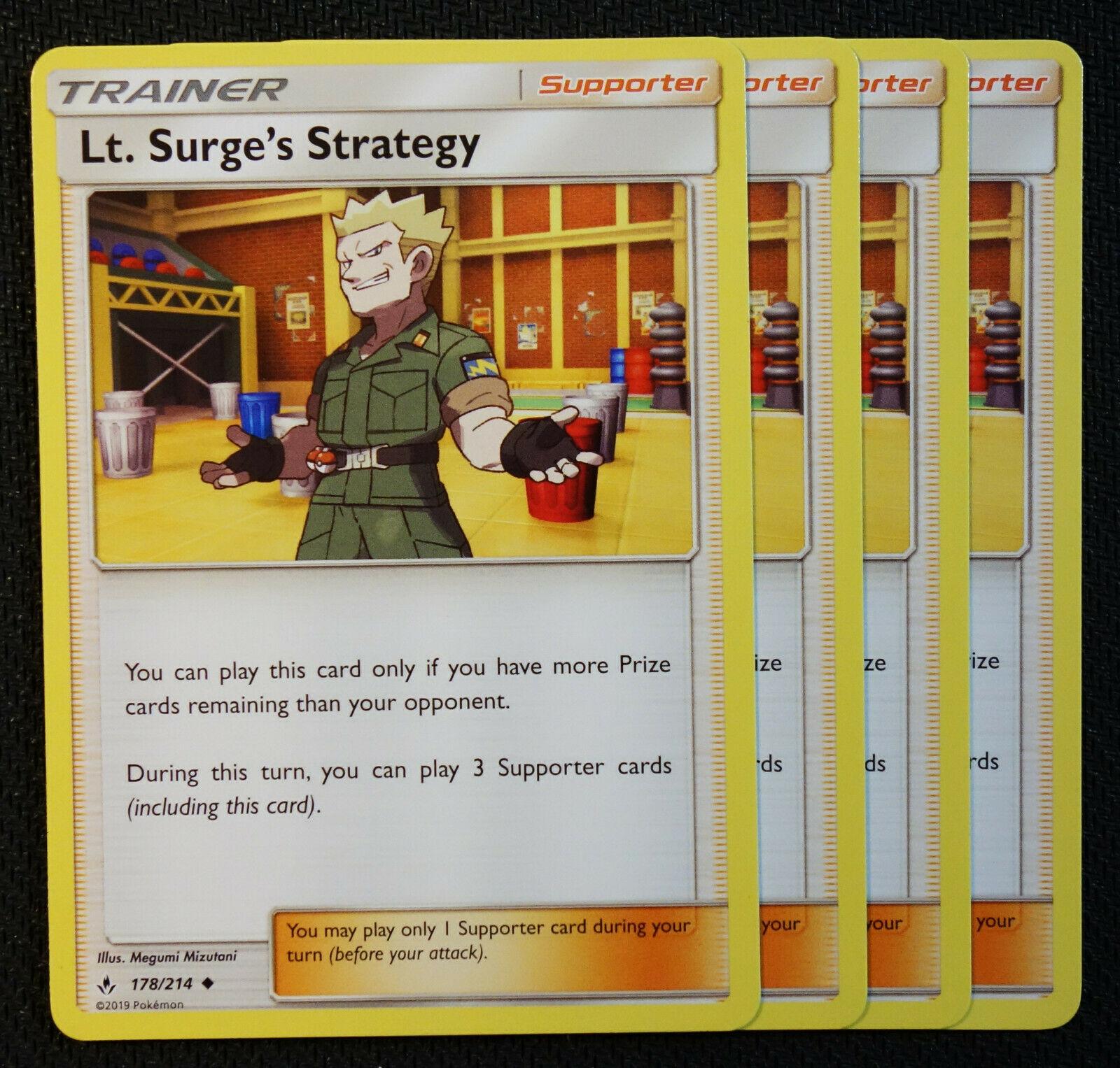 Surge/'s Strategy x4 Pokemon Lt 178//214 Uncommon NM-Mint Unbroken Bonds