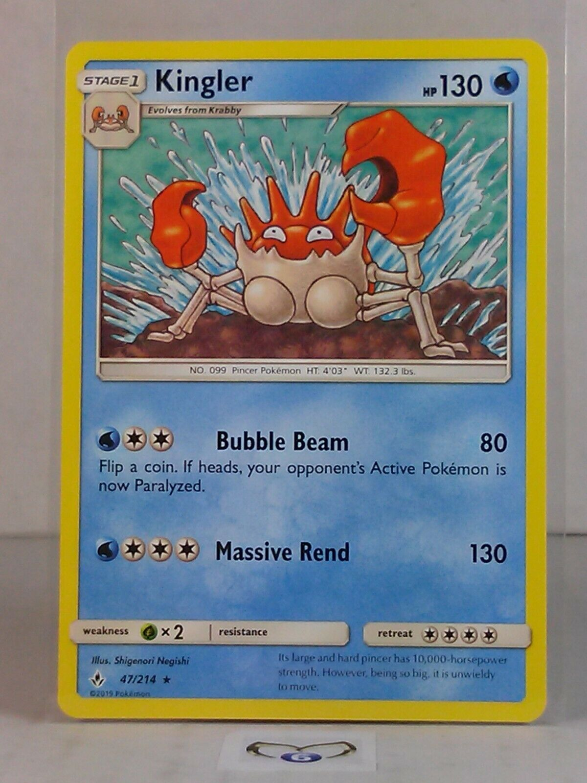 Kingler  47/214  Sun & Moon: Unbroken Bonds  Rare  Mint/NM  Pokemon