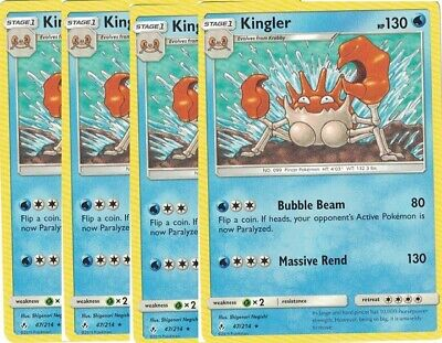 4x Kingler47/214Rare- Pokemon Unbroken Bonds