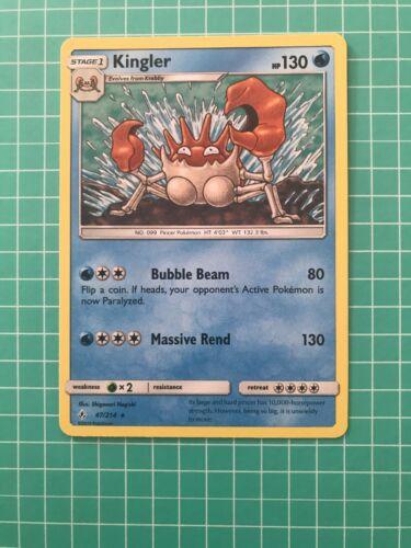 POKEMON SM UNBROKEN BONDS CARD : KINGLER 47/214 - RARE