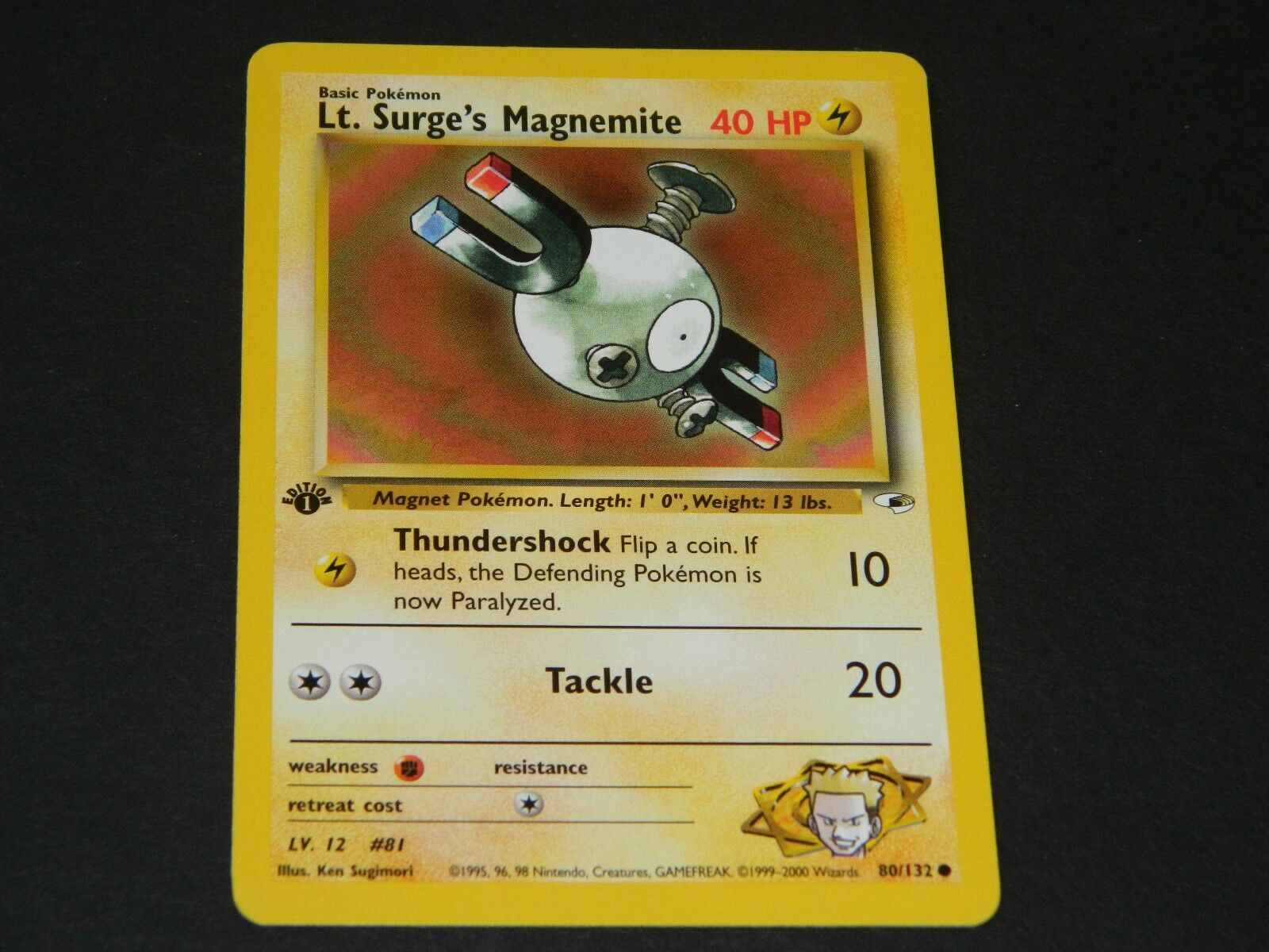 80//132 - NM//M Lt Surge/'s Magnemite Pokemon Gym Heroes Common Card