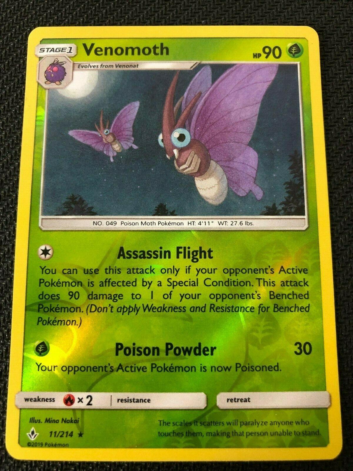 Pokemon : SM UNBROKEN BONDS VENOMOTH 11/214 RARE REVERSE