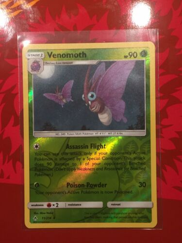 Venomoth 11/214 Unbroken Bonds Reverse Holo Rare Pokemon Card - Mint