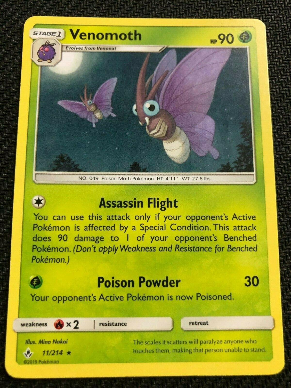 Pokemon : SM UNBROKEN BONDS VENOMOTH 11/214 RARE