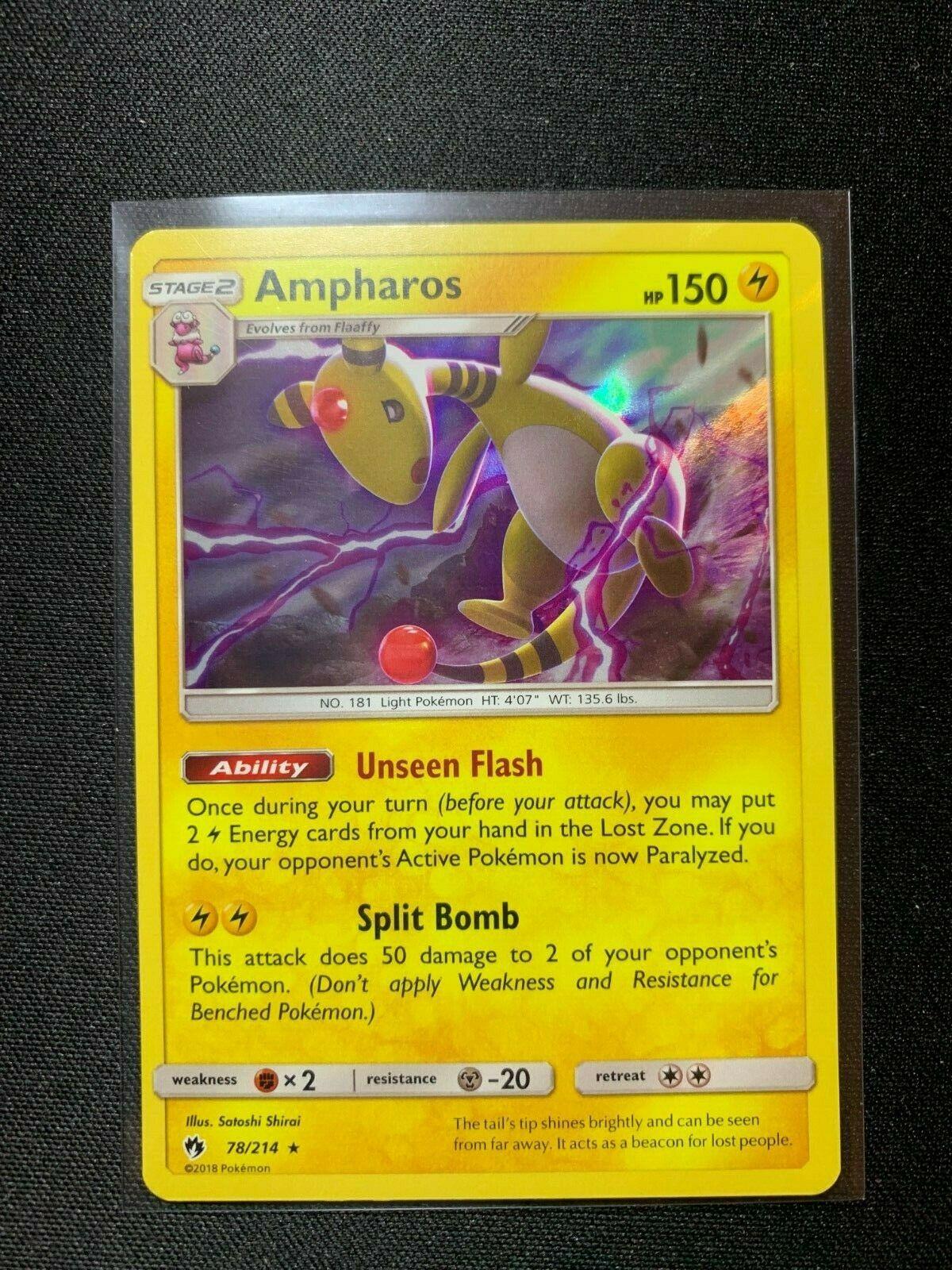 x1 Ampharos Reverse Holo Pokemon SM8 Lost Thunder M//NM 78//214