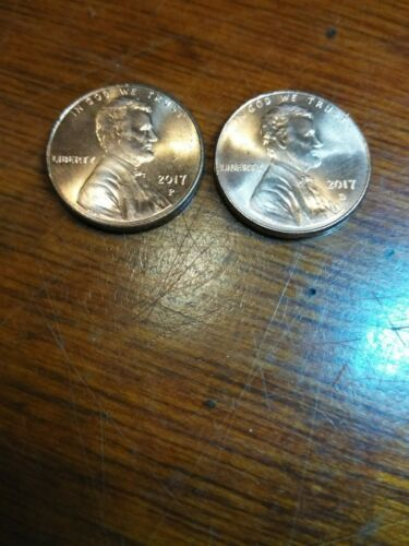 """3 /""""P/"""" /& 3 /""""D/"""" 2017 P/&D LINCOLN SHIELD CENT UNCIRCULATED COINS FROM BANK ROLLS"""