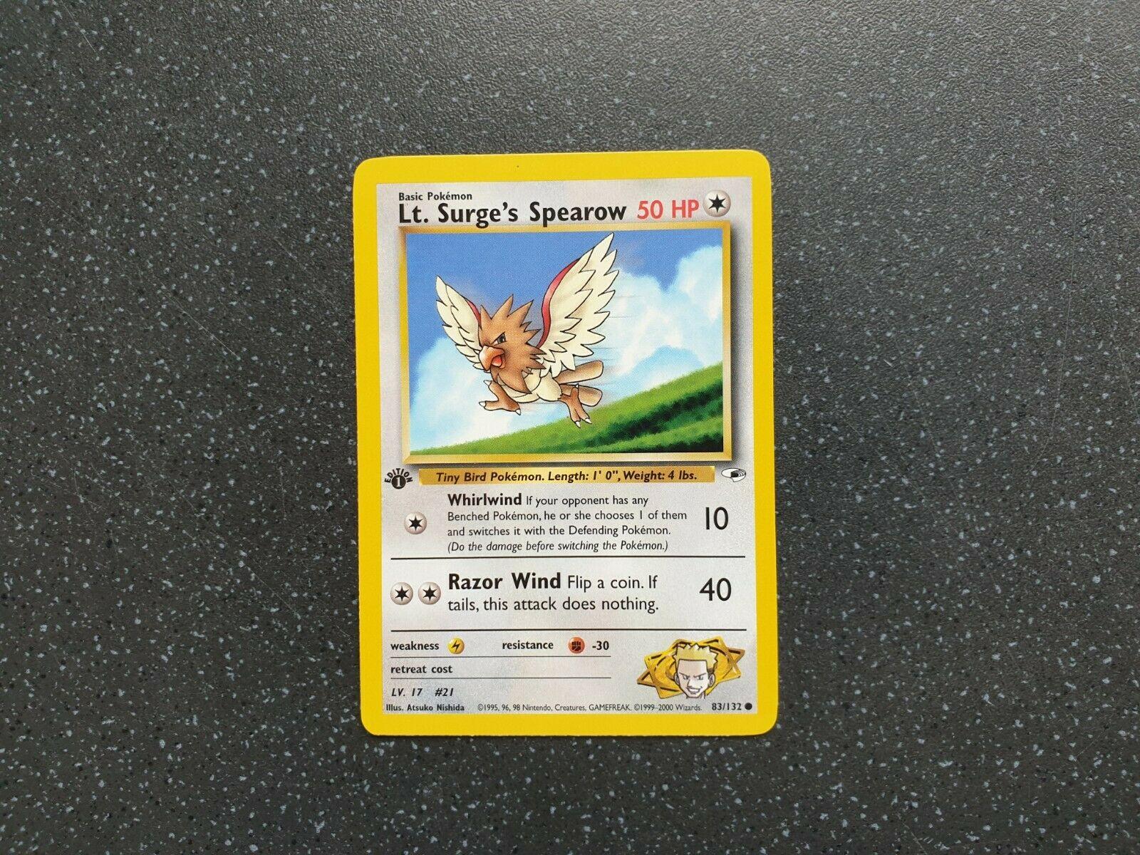 92//130 Spearow Common Pokemon TCG Card Base Set 2