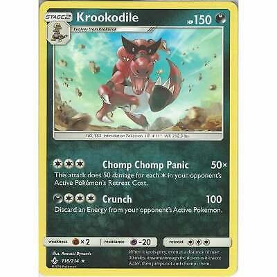 Krookodile - 116/214 - Rare Card - Pokemon TCG Sun & Moon Unbroken Bonds Cards