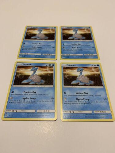 x4 Lapras - 31/181 - 4x Rare Pokemon Card Team Up Sun & Moon NM-Mint Set