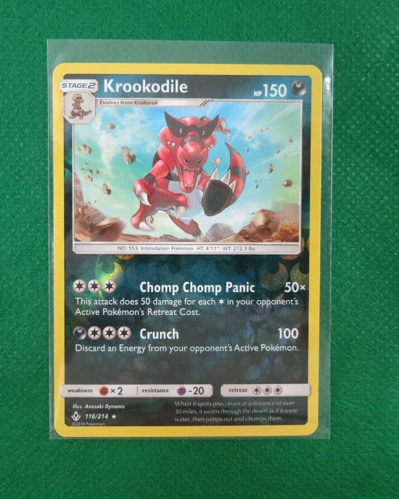Krookodile 116/214 Holo Reverse Pokemon Card TCG Unbroken Bonds NM - Image 1