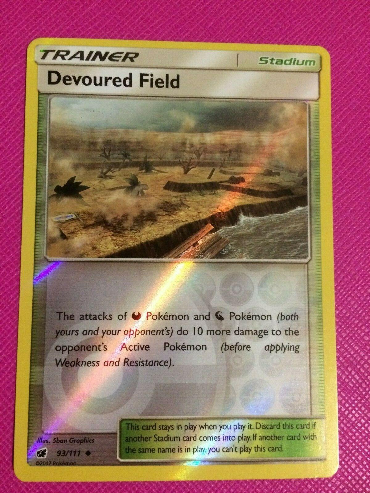 Mint Pokemon Card Devoured Field 93//111 Reverse Holo Crimson Invasion