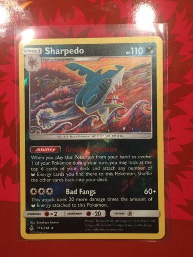 Pokemon TCG SM Unbroken Bonds 111//214 Sharpedo Reverse Holo Rare Card