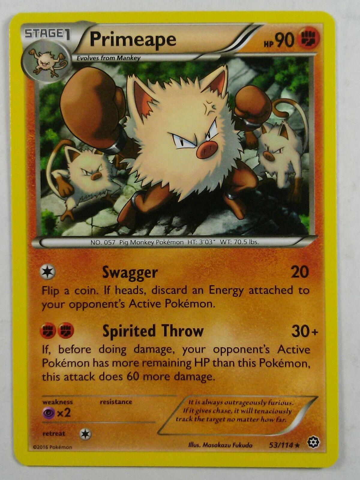 Primeape 53//114 X/&Y Steam Siege  Rare  NM//Mint  Pokemon