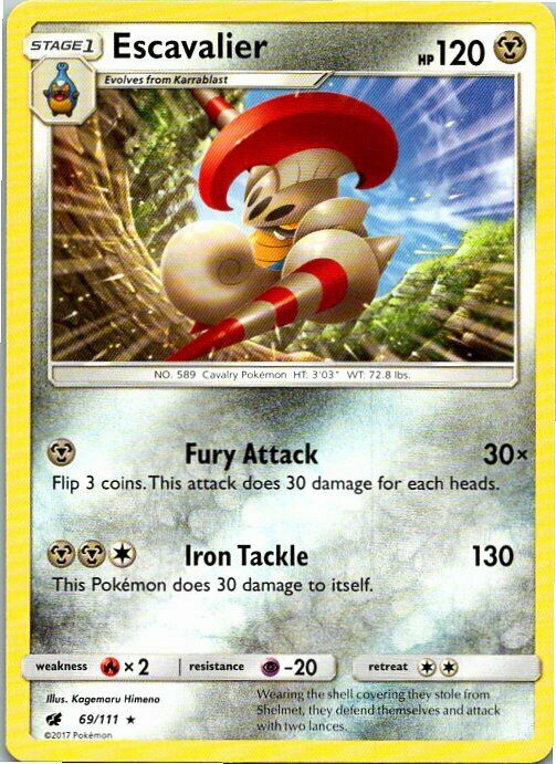 Escavalier 69/111 Rare Pokemon Sun & Moon Crimson Invasion