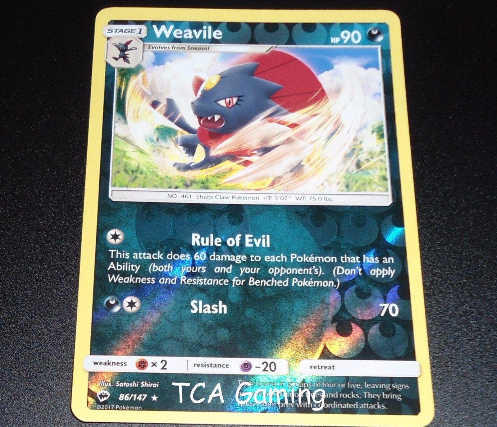 Weavile 86/147 SM Burning Shadows Set REVERSE HOLO Pokemon Card NEAR MINT