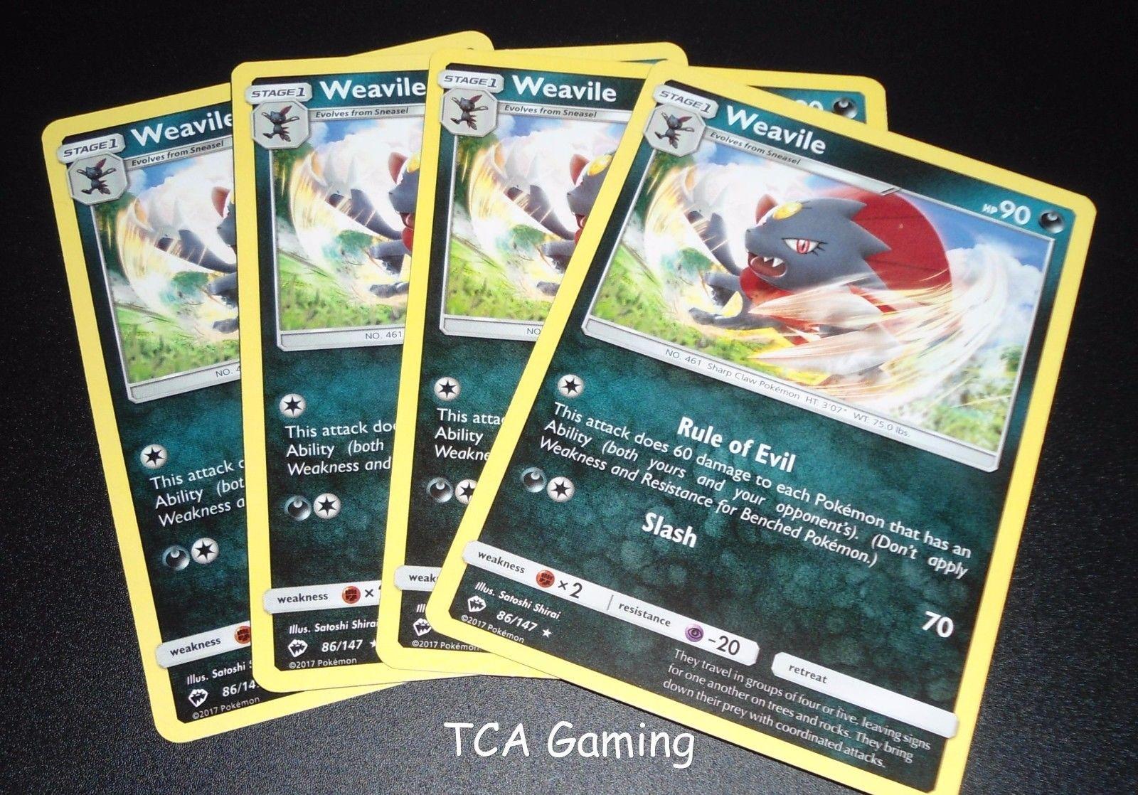 4x Weavile 86/147 SM Burning Shadows Set RARE Pokemon Card NEAR MINT