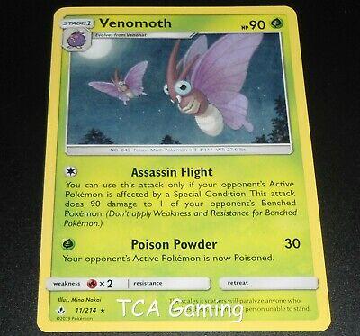 Venomoth 11/214 SM Unbroken Bonds RARE Pokemon Card NEAR MINT